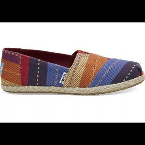 Toms Rainbow Multi Stripe Woven Shoes US #7 NEW